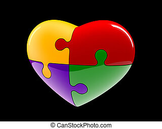 4 part jigsaw puzzle heart diagram illustration isolated on black background