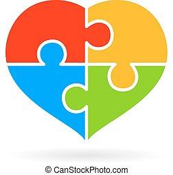 4, parte, quebra-cabeça, coração, diagrama