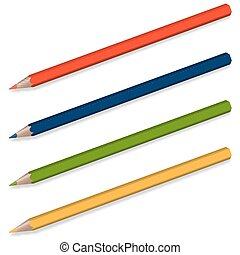 4 pencils with shadow