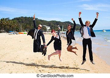 4, persone affari, saltare