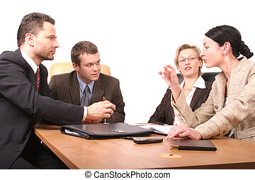 4 persons meeting - Group of people negotiate at the desk -...