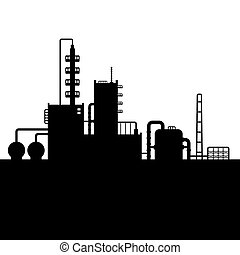 4., planta, óleo, silueta, fábrica, refinaria química, vetorial