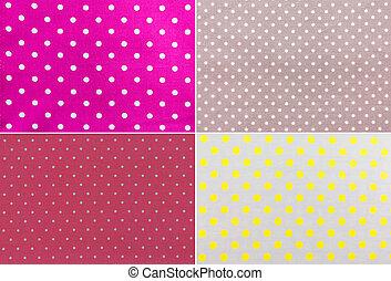 4 Polka Dots farbic Background texture