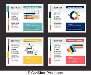 4, presentazione, affari, templates., infographics, per,...