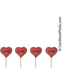 4 Red wooden heart on the white background with copy space. Love concept