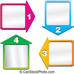 4, richtingwijzer, -, getal, stap, dozen