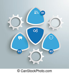 4 Round Colored Triangles White Gears Blue Infographic PiAd