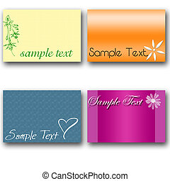 4 sample text cards