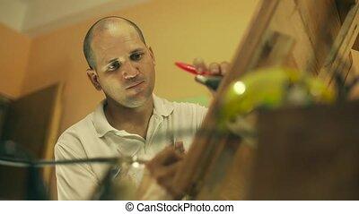 4 Sculptor Painter Artist Chiseling A Wooden Bas Relief
