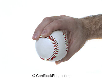 Illustrates how to hold a baseball to throw a 4-seam fastball.