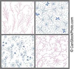 4, seamless, floral modella