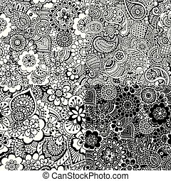 4 seamless pattern with abstract ornament - Set of seamless...