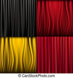 Silk Curtains - 4 Silk Curtains, Vector Illustration