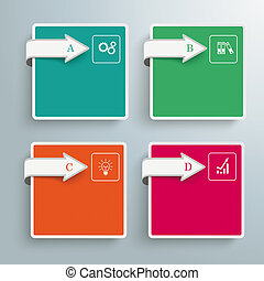4 Squares Arrows Infographic - Arrows with squares on the...