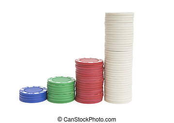 4 stacks lots of casino chips on white with clipping path