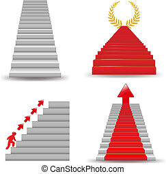 4 Staircases, Isolated On White Background, Vector Illustration