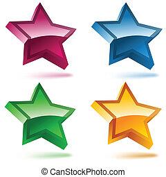 4, stars., セット, 光沢がある, 3d