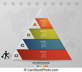 4 steps pyramid with free space for text on each level
