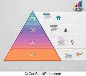 4 steps pyramid with free space for text on each level. infographics, presentations or advertising.