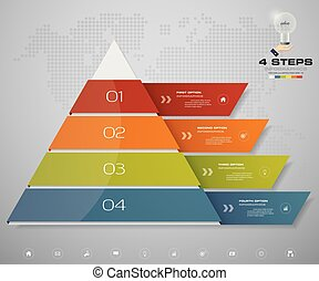4 steps pyramid with free space for text on each level.