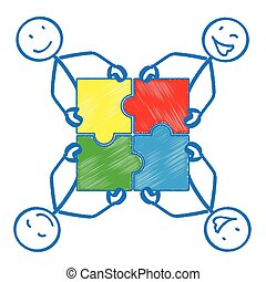 4 Stickman Rectangle Puzzle - 4 stickmen with rectangle...