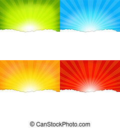 Sunburst Backgrounds - 4 Sunburst Backgrounds, Vector...