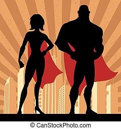 4, superhero, coppia