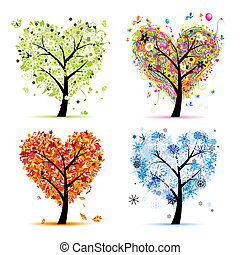 4 szezon, -, eredet, nyár, ősz, winter., művészet, fa, szív alakzat, helyett, -e, tervezés