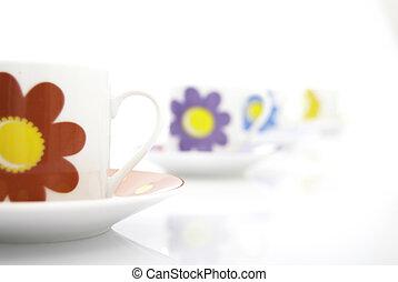 4, tea, csészék, egymásra következő
