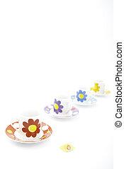 4, teacups, egymásra következő