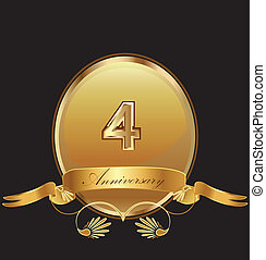 4 th anniversary birthday seal in gold design with bow icon vector (kid birthday celebration)