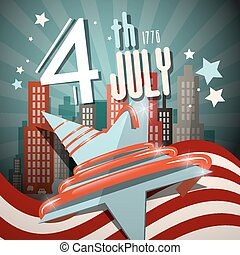 4 th July Retro Vector Illustration with Flag, Star and City on Background