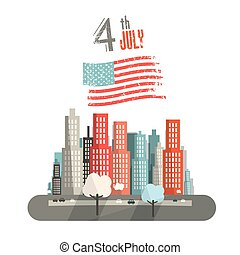4 th July Title with American Flag and Abstract City on White Background Vector Illustration.