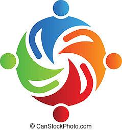 4, tillsammans, logo, lag, vektor