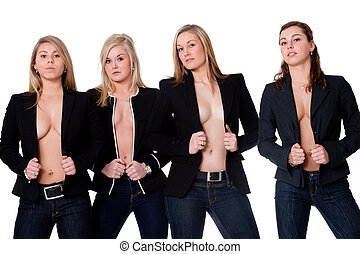 4 topless girls - Group of young girlfriends having a happy...