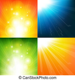 4 Underwater And Sunburst Backgrounds, Vector Background