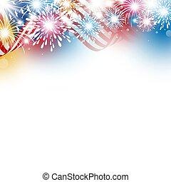 4, usa, tűzijáték, amerikai, ábra, nap, lobogó, vektor, tervezés, háttér, fehér, július, szabadság