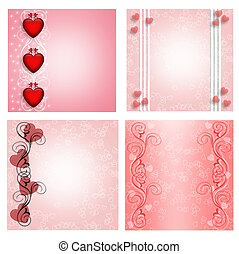 Illustration compositions for Valentine designs in 4 styles with copy space.