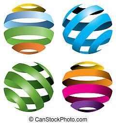 4, vecteur, globes
