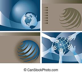 4 vector globe backgrounds