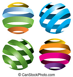 4 vector globes - A set of four abstract vector globes
