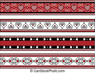 Red, black and white vector Valentine borders with gingham trim.