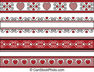 Vector of four red, black and white Valentine borders with gingham trim.