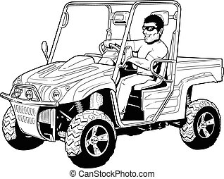 Off road, 4X4 side by side, vector, line art, black and white,