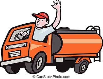 4 Wheeler Tanker Truck Driver Waving Cartoon - Illustration...