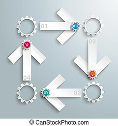 4 White Arrows Rectangle Cycle Gears PiAd - Infographic...