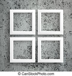 4 White Frames Concrete - Template rectangle design on the...