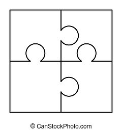 4 white puzzles pieces arranged in a square. Jigsaw Puzzle template ready for print. Cutting guidelines on white