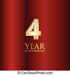 4 Year Anniversary Gold With Red Background Vector Template Design Illustration