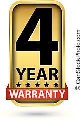 4 year warranty golden label, vector illustration